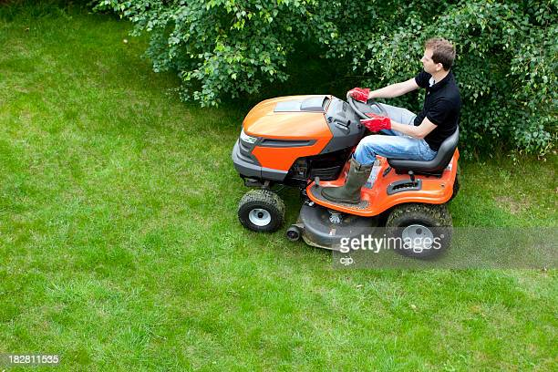 Mowing Lawn With Ride On Mower
