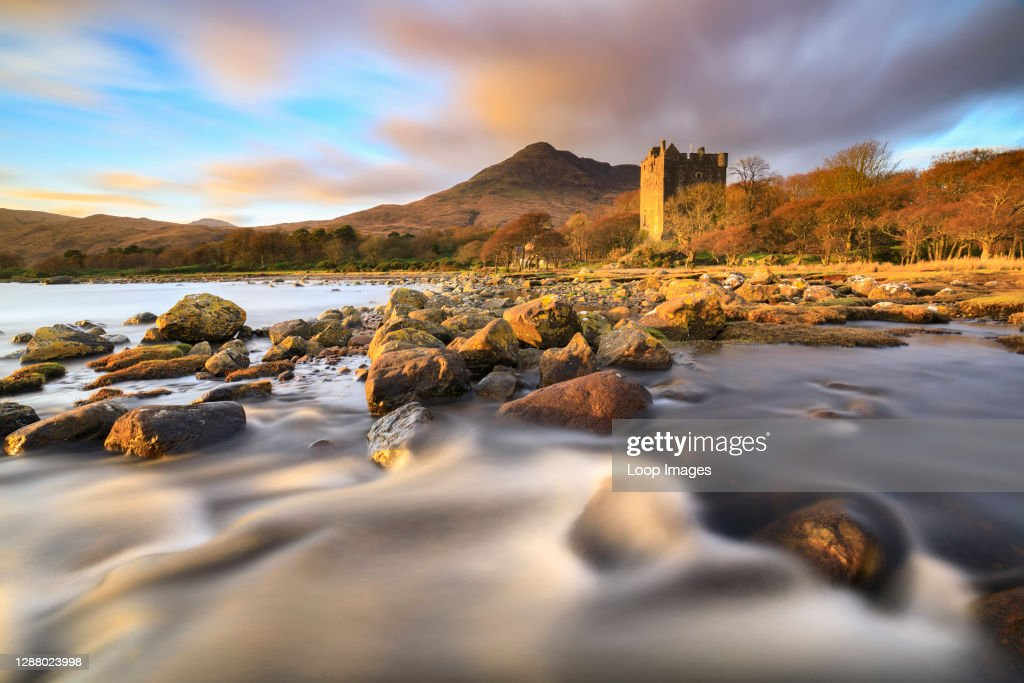 Moy Castle on Loch Buie captured shortly before sunset ...