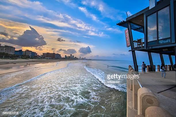 moyo pier - durban beach stock photos and pictures