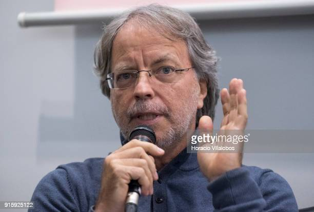 "Mozambican writer Antonio Emlio Leite Couto, better known as Mia Couto, speaks to the public during Camoes Institute program of conferences ""Camoes..."
