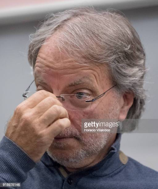 Mozambican writer Antonio Emlio Leite Couto better known as Mia Couto gestures while listening to a question by a member of the public during Camoes...