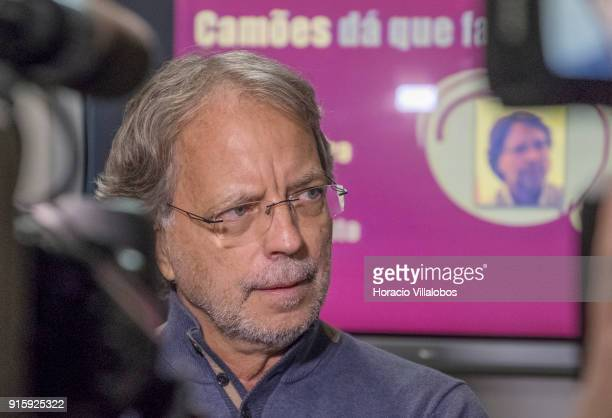 Mozambican writer Antonio Emílio Leite Couto, better known as Mia Couto, is interviewed by TV before speaking to the public during Camoes Institute...
