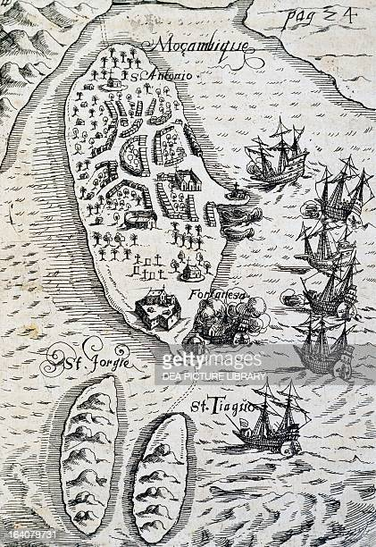 Mozambique, discovered by the Dutch in the Indian Ocean, under the command of Admiral Steven van der Hagen , engraving by Levinus Hulsius, Frankfurt,...