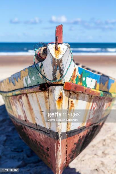 mozambique, fishing boat on the coast - nampula province stock pictures, royalty-free photos & images