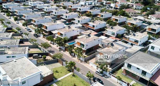 mozambique, maputo, aerial view of upper class african suburb - mozambique stock pictures, royalty-free photos & images