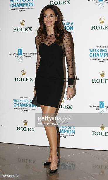 Mozambiqueborn Canadian model Tasha de Vasconcelos poses during a photocall before attending a screening of the film 'Weekend of a Champion' directed...