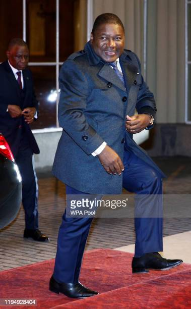 Mozambique's President Filipe Nyusi arrives as Prince William, Duke of Cambridge and Catherine, Duchess of Cambridge host a reception to mark the...