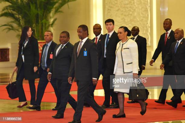 Mozambique's president Filipe Nyusi arrives for a meeting with Chinese president Xi Jinping at the Great Hall of the People in Beijing, China, April...