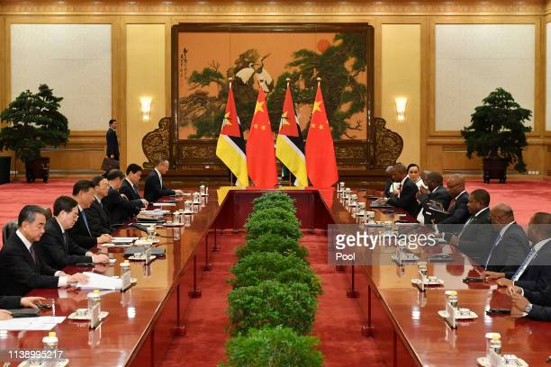 Mozambique's president Filipe Nyusi attends a meeting with Chinese president Xi Jinping at the Great Hall of the People in Beijing, China, April 24,...
