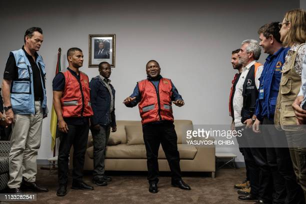 Mozambique's President Filipe Nyusi speaks during a meeting with representatives of various international aid organizations in Beira, Mozambique, on...