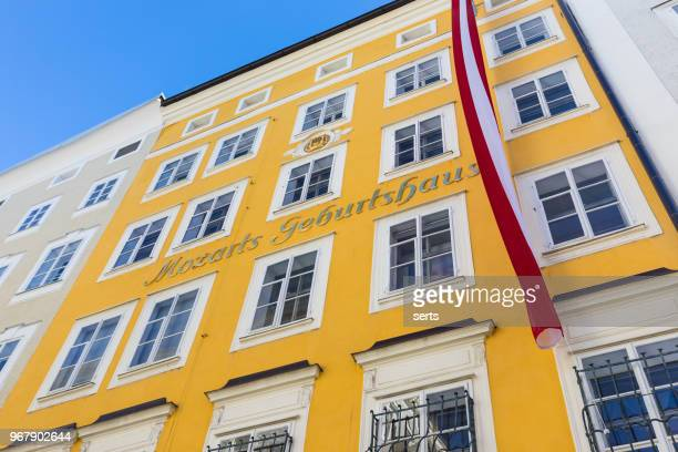 mozart birthplace geburtshaus in the altstadt, salzburg austria - salzburg stock pictures, royalty-free photos & images