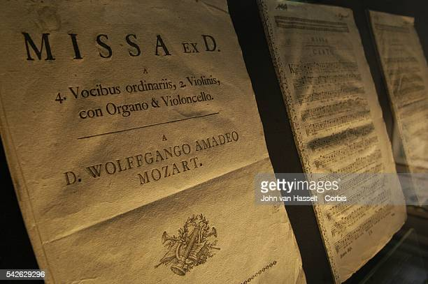 Mozart partition Missa Brevis in D major K194 dated Salzburg August 8th 1774 at the museum Mozart's former home