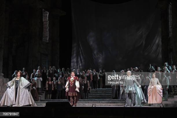 Mozart's 'Idomeneo' at the Metropolitan Opera House on Friday, March 3, 2017. This image: From left, Elza van den Heever, Matthew Polenzani, Alice...