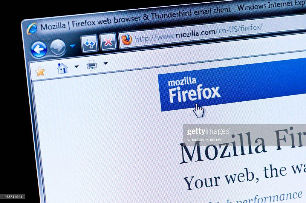 Mozilla Firefox Macro Shot Of Real Monitor Screen Stock Photo