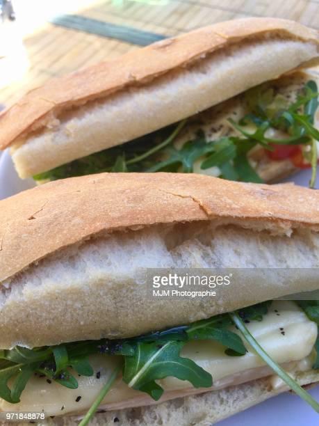 Mozzarella and arugula sandwich on fresh bread