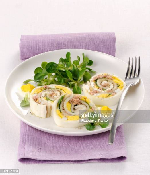 mozzarella rolls with egg and tuna fish - hard boiled eggs stock photos and pictures
