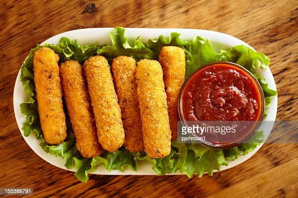 mozzarella sticks - mozzarella stock photos and pictures