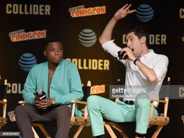 Mpho Koaho and Max Landis speak onstage during the Dirk Gently's Holistic Detective Agency BBC AMERICA Official Panel during 2017 New York Comic Con...