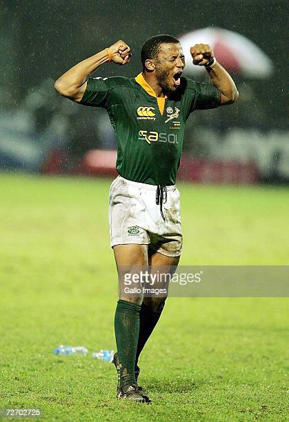 Mpho Mbiyozo celebrates victory during the Emirates IRB Dubai Sevens final between South Africa and New Zealand at the Exiles Club on December 2 2006...