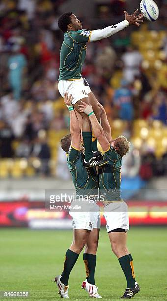 Mpho Mbiyozo of South Africa catches a lineout throw during the match between Kenya and South Africa on day one of the New Zealand International...