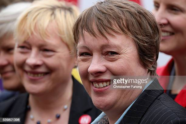 MPs Angela and Maria Eagle pose for the media outside Palfrey Sure Start Centre as they join the Labour In battle bus to campaign in the West...