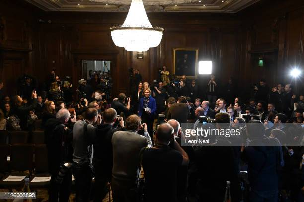 MPs Anna Soubry Heidi Allen and Sarah Wollaston arrive to speak to the media during a press conference after resigning from the Conservative Party...