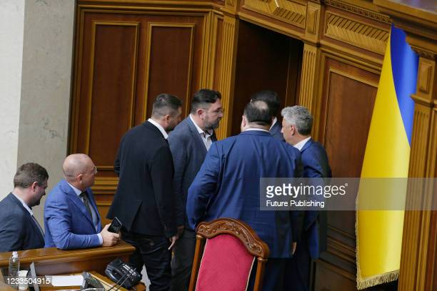 MPs are pictured during a plenary sitting of the Ukrainian parliament, Kyiv, capital of Ukraine.