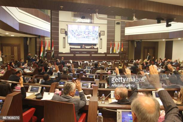 MPs are seen at the Iraqi Kurdish Regional Parliament during a session held to discuss end of the Iraqi Kurdish Regional Government's President...