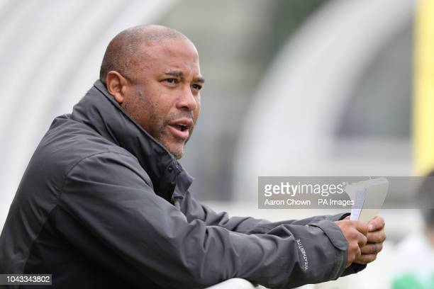 MPs coach, former Liverpool and England footballer John Barnes during the Journalists v MPs football match at the Birmingham County FA ground in...