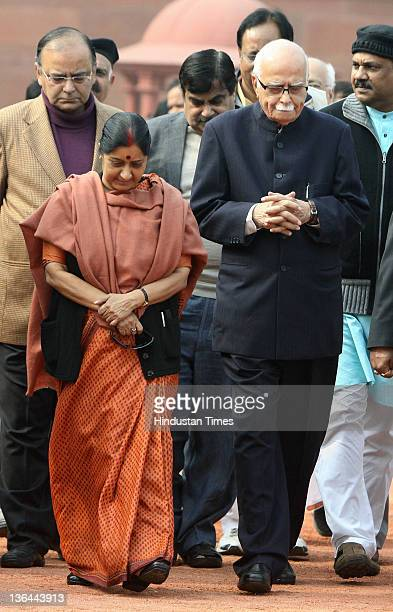 MPs delegation led by LK Advani Party President Nitin Gadkari and leaders of opposition in both Houses Arun Jaitley and Sushma Swaraj coming out of...