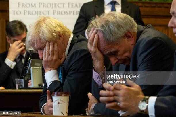 MPs Jacob Rees-Mogg, Boris Johnson, Peter Bone and Iain Duncan Smith listen as MP Steve Baker speaks during the launch of 'A World Trade Deal: The...