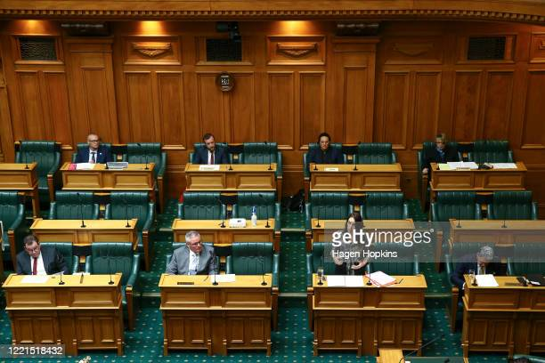 MPs practice social distancing while Prime Minister Jacinda Ardern speaks during the first sitting of the House since lockdown at Parliament on April...