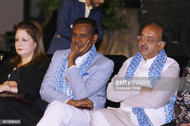 MPs Udit Raj and Vijay Goel during the Fashion Show to promote Ahimsa Silk and Khadi on April 1 2018 in New Delhi India