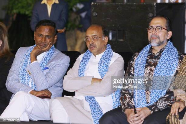 MPs Udit Raj and Vijay Goel with Sidharto R Suryodipuro during the Fashion Show to promote Ahimsa Silk and Khadi on April 1 2018 in New Delhi India