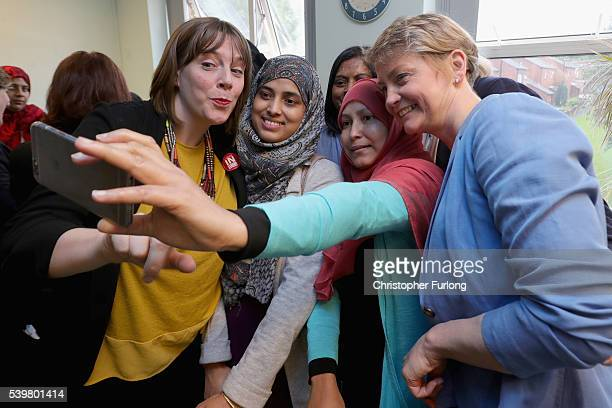 MPs Yvette Cooper and Jess Phillips pose for a selfie with staff at Palfrey Sure Start Centre as they join the Labour In battle bus to campaign in...