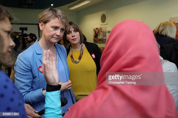 MPs Yvette Cooper and Jess Phillips talk to staff at Palfrey Sure Start Centre as they join the Labour In battle bus to campaign in the West Midlands...