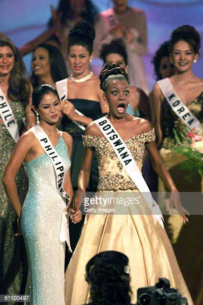 Mpule Kwelagobe Reacts As She Is Titled The Miss Universe May 26 1999 In Chaguaramas Trinidad And Tobago