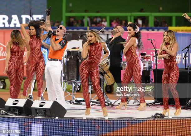 Mr 305 PITBULL prior to player presentation prior to the Home Run Derby on July 09 2017 at Marlins Park in Miami FL