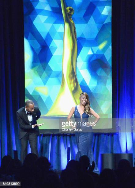 Mr. ADCOLOR Jonathan Priester and Ms. ADCOLOR Jezzika Chung speak onstage during the 11th Annual ADCOLOR Awards at Loews Hollywood Hotel on September...