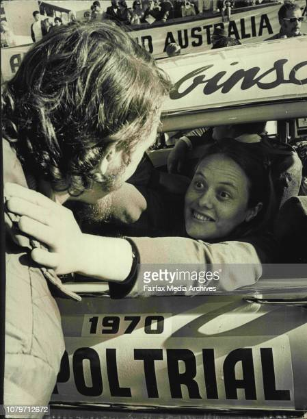 Mr Adrian Van Loon bade farewell to Mrs Van Loon the navigator in the three woman team in Car 43 at the start of the 10000mile Ampol Trial at Bondi...