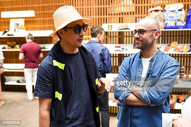 Mr Akira Shimada Goete with Bally Design Director Pablo Coppola at the Bally Men's Spring Summer 2016 Presentation in Milan 21st June 2015