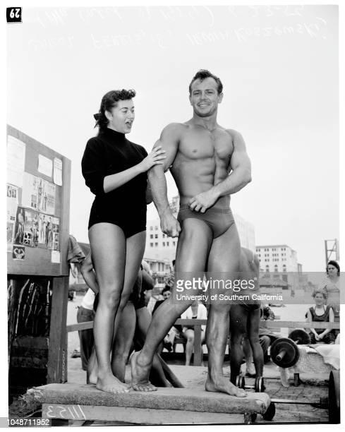 Mr America' contestants 23 June 1954 Monte Wolford 25 years Carol Ferris 18 yearsIrwin Koszewski Malcolm Brenner Caption slip reads 'Photographer...