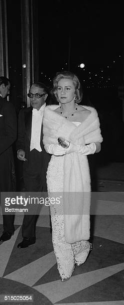 Mr and Mrs Aristotle Onassis are shown as they arrive at opera