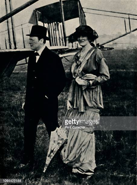 Mr. And Mrs. Churchill at an Air-Meeting at Hendon', circa 1910s, . British politician and statesman Sir Winston Churchill and his wife Clementine at...
