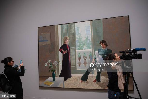 'Mr and Mrs Clark and Percy' 197071 by David Hockney is pictured during a press preview for the British artist's retrospective at Tate Britain on...