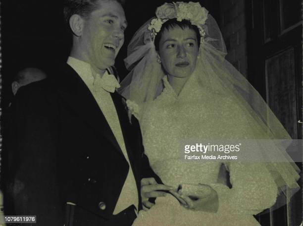 Mr and Mrs Donald Grattan who were married at St Mary's Church North Sydney last night The bridge was Miss Leonie Cramer younger daughter of the...