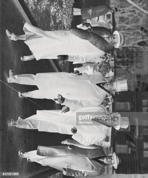 Mr. And Mrs. Harold Ickes and their sons Raymond and Robert, arriving at St. John's Church for services before attending the inaugural ceremonies in...