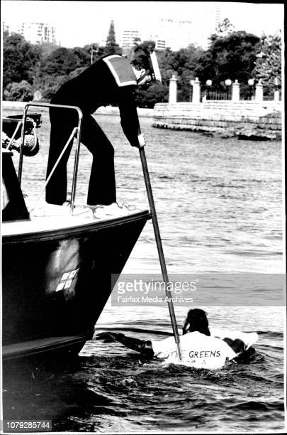 Mr and Mrs Hawke crossed the Harbour from Admirality wharf to Opera House aboard Admiral's barge for unveiling of labour election policyMr Ian Cohen...