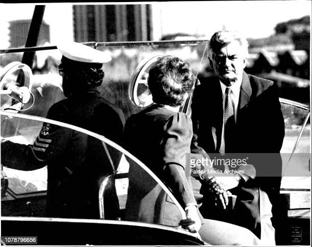 Mr and Mrs Hawke crossed the Harbour from Admiralty wharf to Opera House aboard Admiral's barge for unveiling of Labour election policyMr Ian Cohen...