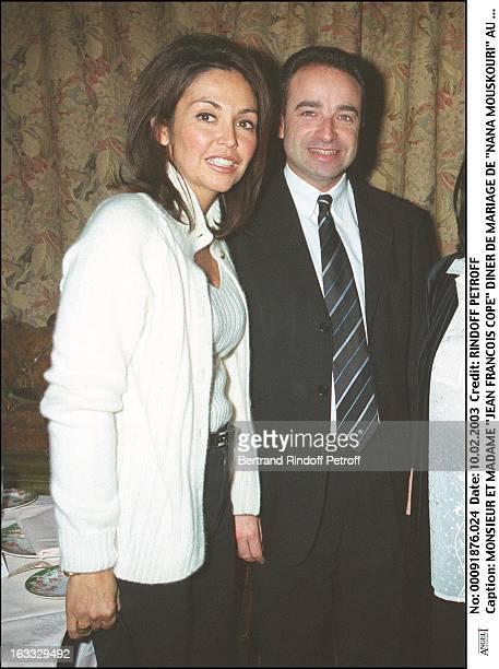 Mr and Mrs Jean Francois Cope Nana Mouskouri wedding dinner at the restaurant L'Orangerie in Paris